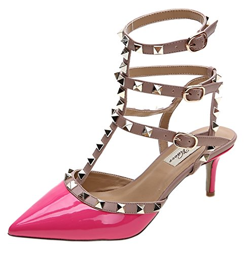 (Royou Yiuoer Fourteen Colors Women's Patent Leather Buckle Studded Sandals T-Strap Kitten Pumps Dress Sandals Peach 7 B(M) US)