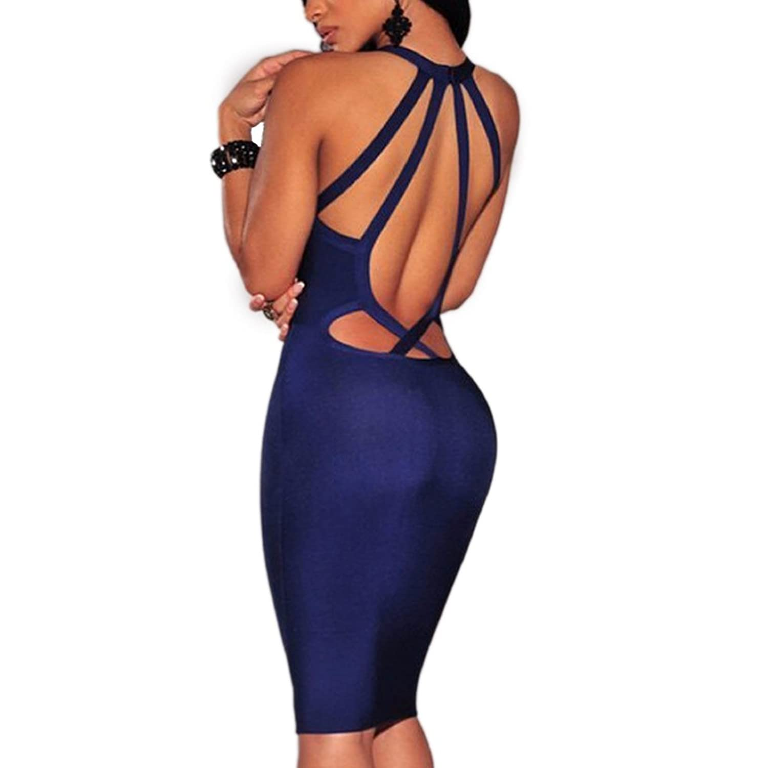 Sexy Womens V-Neck Backless Bodycon Bandage Cocktail Clubwear Party Dress