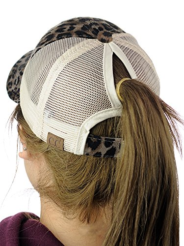 - C.C Ponycap Messy High Bun Ponytail Adjustable Mesh Trucker Baseball Cap Hat, Leopard