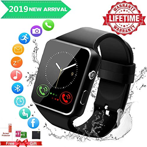 Android Smart Watch for Women Men, 2019 Bluetooth Smartwatch Smart Watches Touchscreen with Camera, Cell Phone Watch with SIM Card Slot Compatible Android Samsung iOS Phones XS 8 7 6 Note 8 9 Adult (Watch Cell Phone Camera)