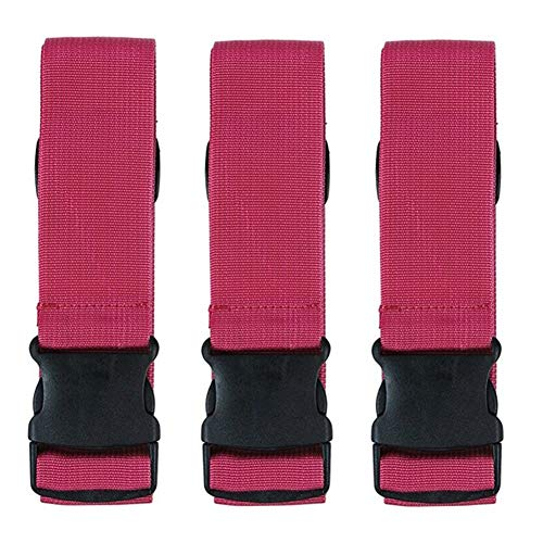 3 Pack Luggage Strap, Heavy Duty Non-Slip Adjustable Travel Suitcase Attachment Belt Straps Accessories Suitable for Bundling Luggage Draw-Bar Box Handbag Carts Packing Fixed Braided Strap (Red)