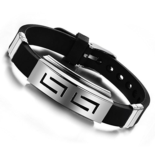 MOWOM Silver Tone Black Stainless Steel Rubber Bracelet Bangle Cuff Greek Adjustable