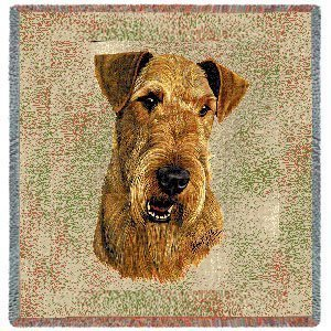 Pure Country 1177-LS Airedale Pet Blanket, Canine on Beige Background, 54 by 54-Inch by Pure Country