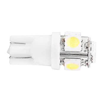 Bombillas LED T10, Super Bright 6000K Pure White W5W con chipset 5 SMD para interior