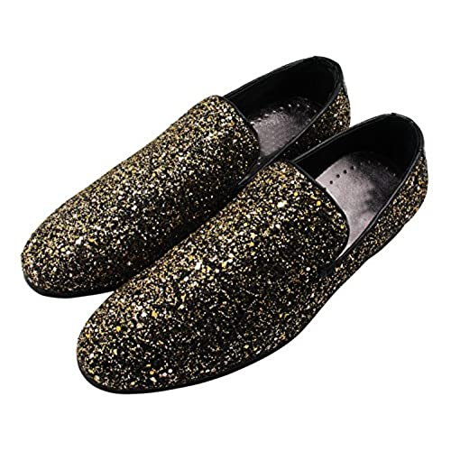 Santimon Mens Dress Shoes Metallic Fashion Genuine Leather Rock Slip on Loafers Evening Shoes well-wreapped
