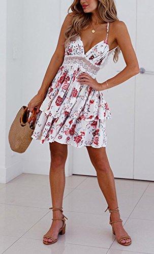 975ef729dd76 Sommer Kurz Kleider Damen Fashion Spitzen Stitching Plissee Minikleid  Partykleider Cocktailkleid Abendkleider Sexy V-neck ...