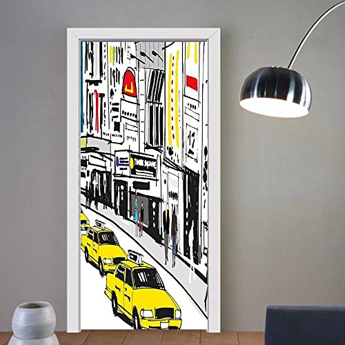 Gzhihine custom made 3d door stickers Modern Times Square New York with People in Street Taxi Cabs Traffic Fashion Illustration Multicolor For Room Decor - Outlet York Times Square In New