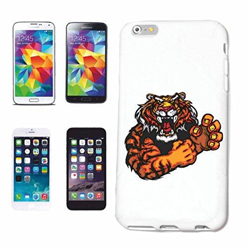 """cas de téléphone iPhone 6+ Plus """"DYNAMIQUE LEOPARD TIGER TIGER WILD ANIMAL BIG CAT BIG CAT"""" Hard Case Cover Téléphone Covers Smart Cover pour Apple iPhone en blanc"""