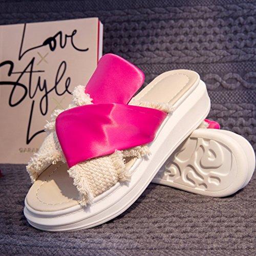 Red densa Sandali AJUNR cool pantofole Da in Scarpe Donna colorata Alla Moda pasta z7qCnUzfp