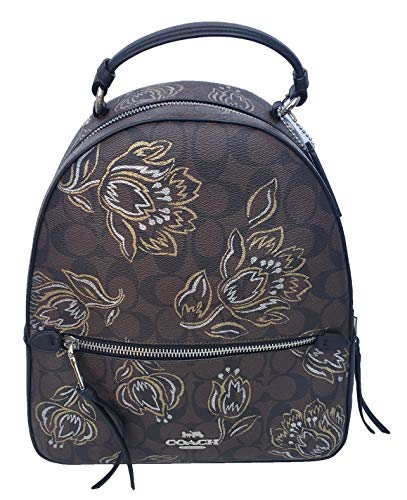 Coach Women's Jordyn Backpack in Signature Canvas with Tulip Print (Chestnut Metallic/Silver)