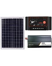 QWERTOUR zonnepaneel 50A + 12V Controller + 1000W omvormer 18V 20W Dual USB boot-solarregelaar voor buiten en huis accu's