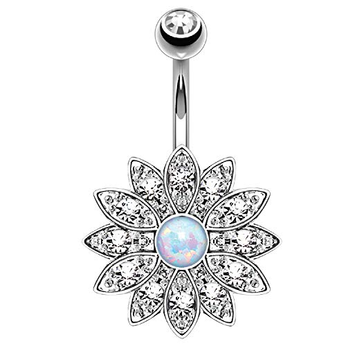 BodyJ4You Belly Button Ring Flower Paved White Created-Opal Stone 14G Navel Banana Steel - Belly Dangle Ring Flower