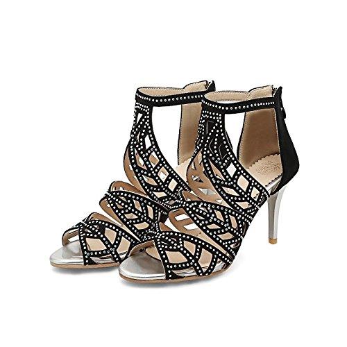Sera Almond Compleanno punta Comfort fibbia per nero Carriera Party similpelle donna ZHZNVX Office la estivo sandali Stiletto Heel aperta Scarpe qgTgx4wH