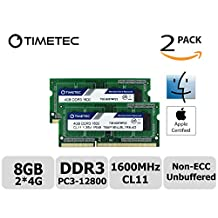 Timetec Hynix IC Apple 8GB Kit (2x4GB) DDR3 1600MHz PC3-12800 SODIMM Memory Upgrade For MacBook Pro 13-inch/15-inch Mid 2012, iMac 21.5-inch Late 2012/Early 2013,27-inch Late 2012/ 2013,Retina 5K display Late 2014/Mid 2015,Mac mini Late 2012/ Server (8GB Kit (2x4GB))