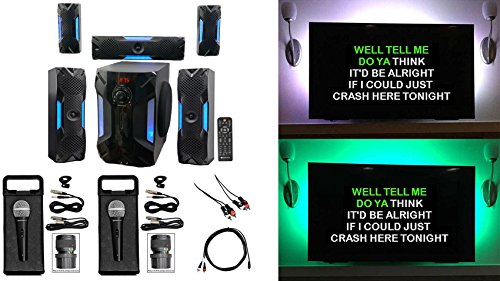(Rockville Bluetooth Home Theater Karaoke Machine System w/8