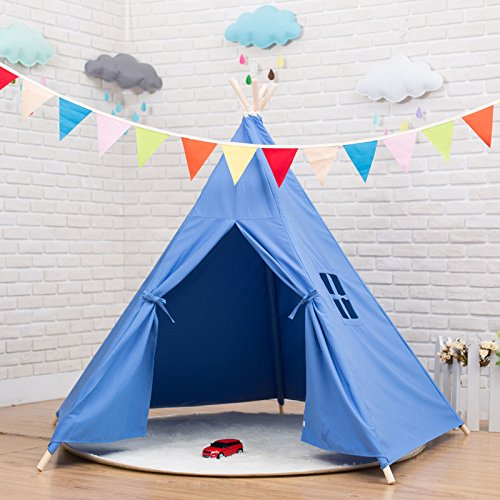 indianer tipi zelt kinder indoor spielzelt f rs wohnzimmer 5 eckig blau g nstig online kaufen. Black Bedroom Furniture Sets. Home Design Ideas