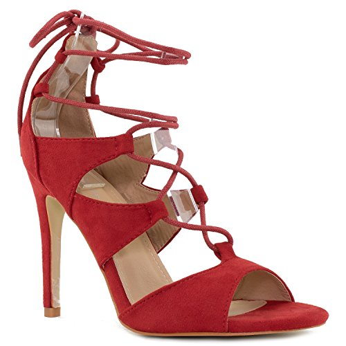 Women Caged Gladiator Lace Up Ankle Strap Wrap Stiletto High Heel Sandals RED Suede (10)