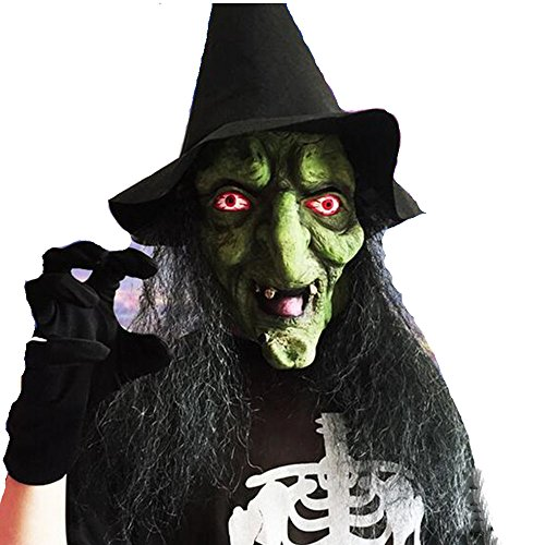 Mltao Old Witch Mask with Hair and Hat Latex Halloween Mask Old Witch Dress -