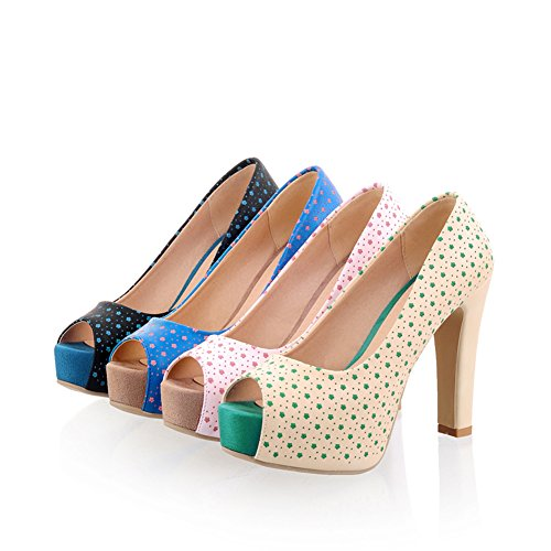fereshte Womens Platform Block Chunky High Heels Sandals Peep-Toe Dotted Pumps With Dots Apricot 5GdM3bg