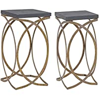 Linon Faux Concrete Top Nesting Table Set in Distressed Gold and Gray