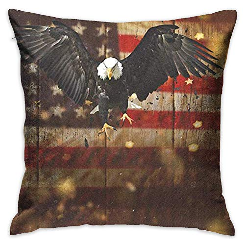 Throw Pillow Cover Bald Eagle Flying American Flag Decorative Pillow Case Decor Square 18x18 Inch Cushion Pillowcase