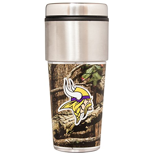 NFL Minnesota Vikings Travel Tumbler,One Size,Mossy Oak Camo