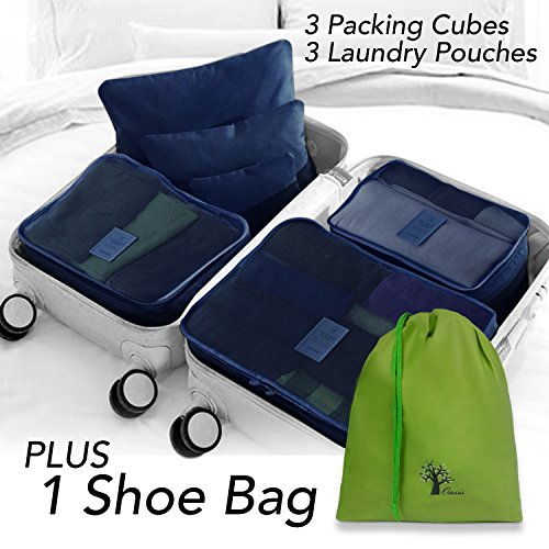 Sattaj|Packing Cubes|New Improved Better Quality Zippers|6 pcs Luggage Packing Organizers Packing Cubes Set for Travel + 1 Bonus Drawstring Shoe Bag