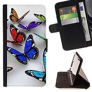 Jordan Colourful Shop - butterfly 3d nature white clean spring For LG G2 D800 - < Leather Case Absorci????n cubierta de la caja de alto impacto > -
