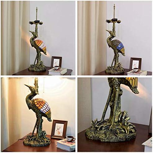 XueQing Pan リビングルームの研究ベッドルームのテーブルランプのために20インチスタイル男性の鳥デスクランプクリムゾンドラゴンフライグラスランプシェード