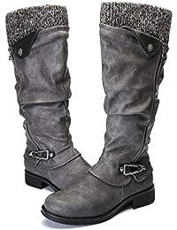 Leather Knee Boots, Women's Knee High Boot Flat Heel Zipper Buckle Riding Boots