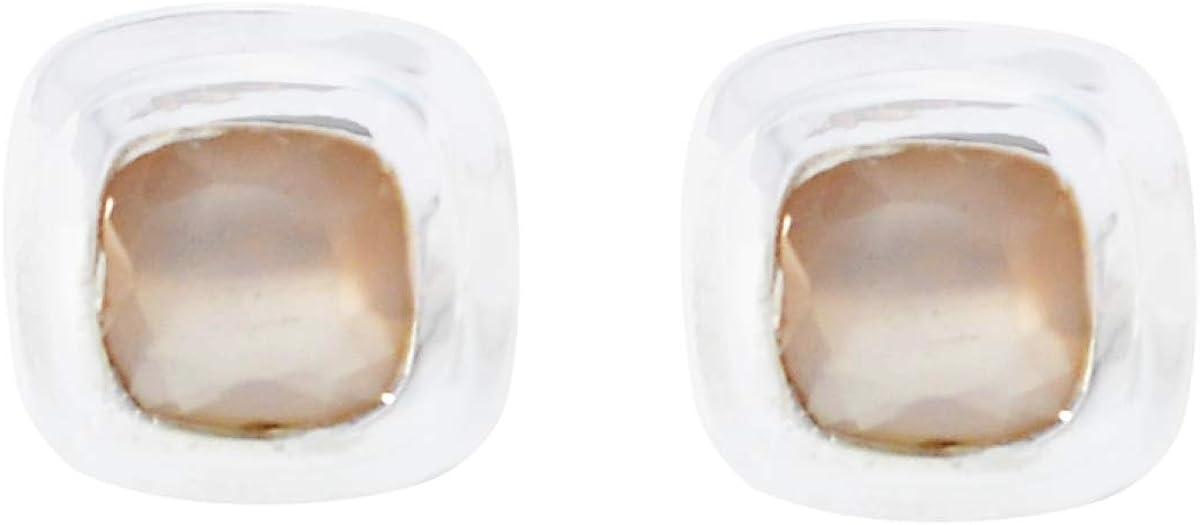 joyas plata hermoso cuarzo rosa una piedra preciosa forma cuadrada tachuelas facetadas pendiente de plata