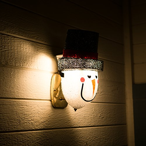 Snowman Porch Light Cover  Light up Your Night with a Glowing Welcome From This Frosty Fellow  Install Is Quick and Easy  Traditional Holiday Snowman Face  Cord Hides Behind Your Outdoor Porch Light  Made of Acrylic