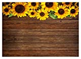 WOLADA 7x5ft Sunflower Brown Wood Backdrops Newborn Baby Shower Birthday Party Photo Backdrop Small Cosmetics Makeup Jewelry Food Cake Fruits Professional Decor Banner Photo Studio Prop 11606