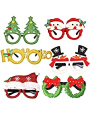 Christmas Party Glasses 6 Pcs Novelty Glasses Fancy Eyeglasses Xmas Tree Reindeer Merry Christmas Santa Claus Photo Booth Props Costume Kids' Party Favor Sets for Holiday Favors Birthdays Party Gift