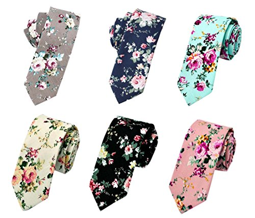 Men's Ties,Cotton Floral Printed Slim Skinny Ties for Men Neckties Pack of 6 (Pack A (6PCS TIES))