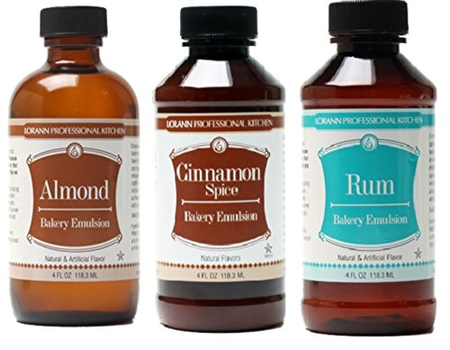- LorAnn Oils Gourmet Bakery Emulsion Almond, Cinnamon Spice and Rum Bundle 4 Ounce Bottles (Pack of 3)