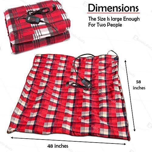 Home and Camping Comfy Protector Zento Deals 12V Electric Blanket Red Plaid Premium Quality Blanket for Cold Days and Nights Road Trip