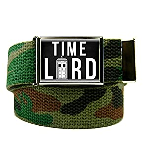 Time Lord Men's Flip Top Bottle Opener Belt Buckle with Canvas Web Belt XXX-Large Army Camo