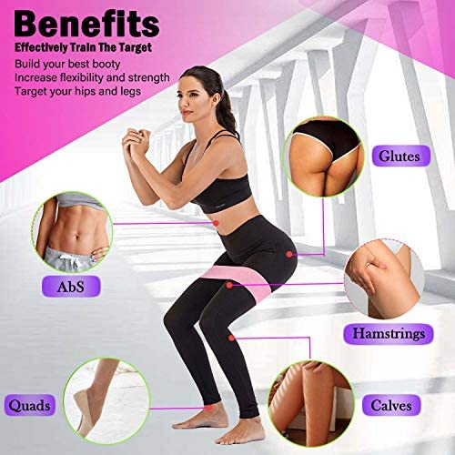 Hayousui Exercise Resistance Bands for Women - Hip Booty Bands Stretch Workout Bands Cotton Resistance Band for Legs and Butt Body Yoga Pilates Muscle Training 3