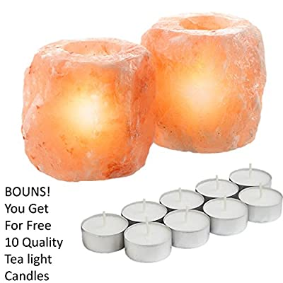 ShartPro Set Of 2 Natural Himalayan Salt Candle Holder - Crafted Naturally From Himalayan Rock Salt crystals - Beautiful Salt Tea Light Holder + Pack From 10 Quality Tealight Candles