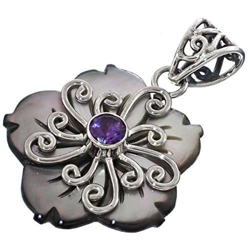 Dark Iridescent Mother Of Pearl Shell Flowe Amethyst 925 Sterling Silver Pendant , 1 1/2
