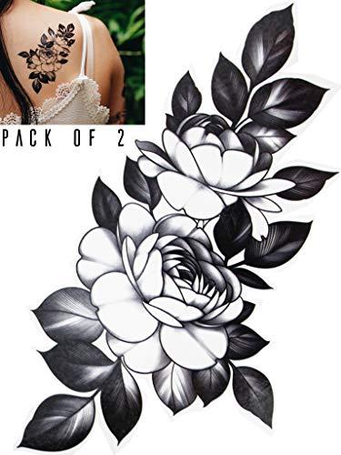 Novu Ink Peony Flower and Leaves Temporary Tattoos | PACK OF 2 | Fake Tattoos | Art Design Transfers/Stickers | For Body, Arm, Leg etc | (13cm x 9cm)