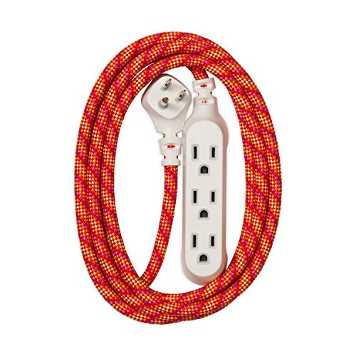 Price comparison product image 360 Electrical 360423 Habitat Accent Braided Extension Cord,  8' - Sunset Blaze
