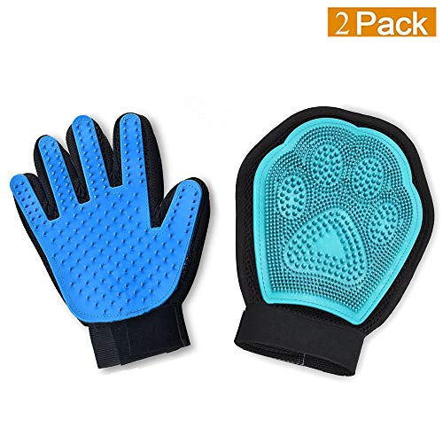 Pet Grooming Glove Kit,Set Of 2 – Jusdo 2 in 1 Pet Glove Hair Remover Mitt,Gentle Deshedding Glove and Massage Tool+Bathing Brush-Enhanced Five Finger Design-Comb for Dogs, Cats, Horses, Rabbits