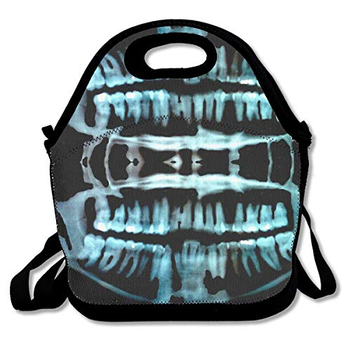 Halloween Spooky Skeleton Teeth Lunch Bag Lunch Tote Lunch Pouch Handbag Made for Women, Men and Kids ()