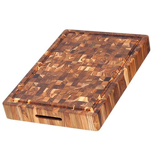 Teak Cutting Board - Rectangular Butcher Block With Hand Grip And Juice Canal (20 x 14 x 2.5 in.) - By Teakhaus by Teakhaus