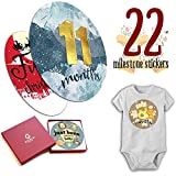 Gooin Global - Luxurious Baby monthly stickers - Great shower gift or scrapbook photo album, keepsake for newborn Boy or Girl Baby's first year growth- Multi layer sticker, 22 cute pieces set