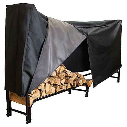 Sunnydaze 8-Foot Firewood Log Rack with Cover Combo, Outdoor Wood Storage Holder, Black