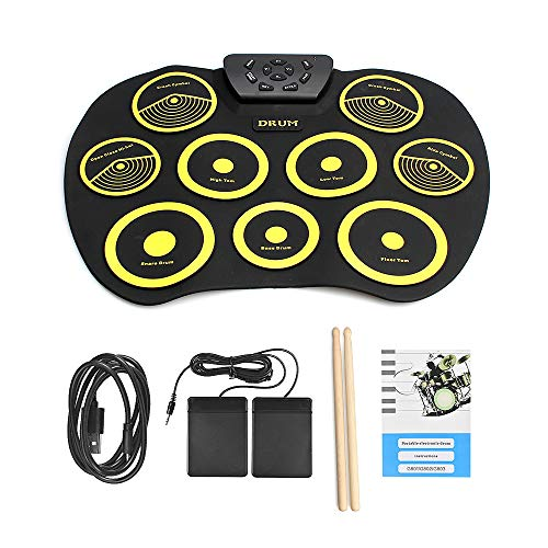 QStyel Portable Electric Drum Set Include Drum Sticks Pad Headphone Jack Built-in Speaker Pedals for Kids Teens Adults