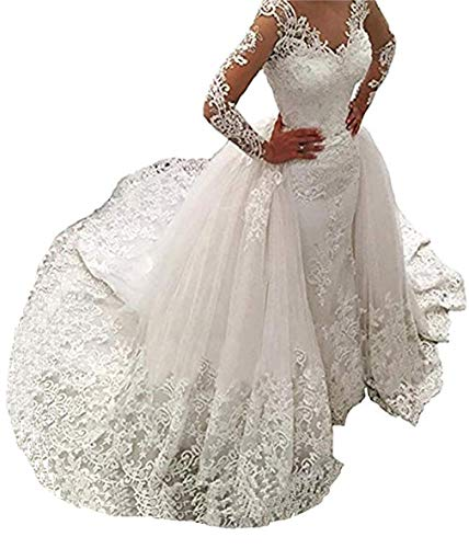 Women's Long Sleeves Lace Wedding Dresses Bridal Gown Mermaid Wedding Dresses for Bride 2019 with Detachable Train White